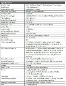 VIVITEK H1180HD_1185HD specification
